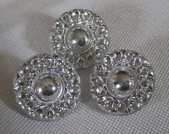 Set of 3 VINTAGE Silver Luster Clear Glass BUTTONS