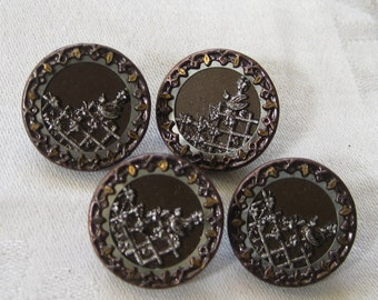 Set of 4 ANTIQUE Bird on Garden Fence Metal Picture BUTTONS