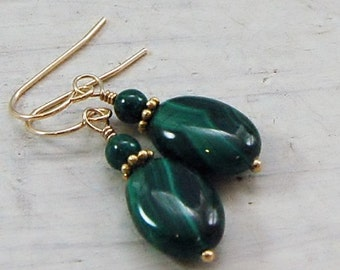 AAA Green Malachite Earrings 14 kt gf
