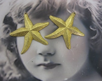 Natural Raw Brass Large Starfish Charms 217RAW x2