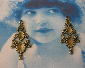 Brass Ox Plated Floral earring Drops 497BOX x2
