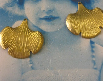 Raw Brass Ginkgo Leaf Stampings 69RAW  x2