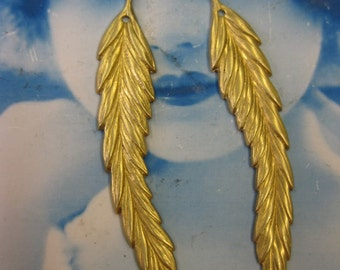 Raw Brass Long Feather Leaf Stampings 44RAW x2