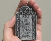 Frank L Baum Oz Grave Stone Sculpted Brooch Pin, Polymer Clay Accessory Sculpt Original Macabre Spooky Memorial Tribute Wizard of Oz Gothic