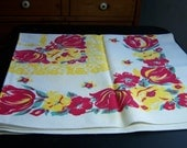 Vintage Floral Print Tablecloth Red Yellow Rose Tulip 36 by 36 Inch
