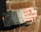 Lady Bows   Crochet Fingerless Gloves with Bows in Heather Grey Tweed Ombre Stripes - Peruvian Wool - Ready to Ship