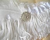 Zelda   Handmade Bridal Garter, White Flapper Fringe, Feather, Deco Rhinestone, Vintage Wedding - Ready to Ship