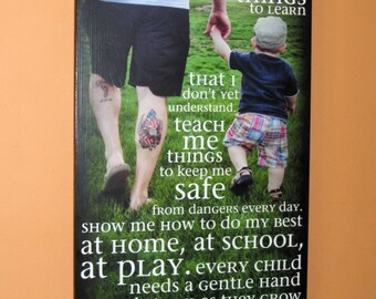 """Father's Day Personalized PHOTO Giclee MoUNTED prints- custom made to order- 13"""" x 28"""" Walk with me Daddy"""