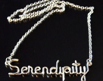 Serendipity Necklace, Silver Plated, Customizable, Wire Name, Wire Word
