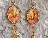 Lilygrace Fleur De Lys Handpainted Cameo Earrings with Vintage Rhinestones