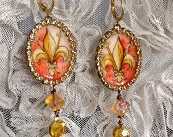 Lilygrace Fleur De Lys Handpainted Cameo Earrings with Vintage Rhinestones