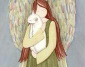 White cat cradled by angel / Lynch signed folk art print