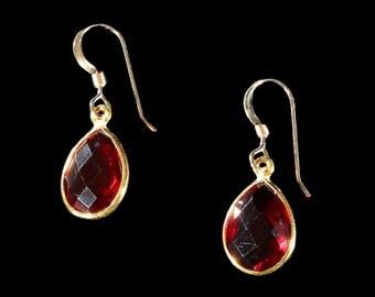 Gold Bezel-set Faceted Garnet Teardrop Earrings, Garnet Earrings, Gold Earrings, Garnet Jewelry, January Birthstone Earrings, Gift for her