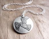 Red tail hawk necklace, silver hawk jewelry