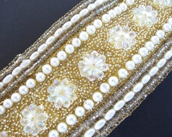 Vintage 1960's Pearls and Gold Bead Belt, Modern Size 8, Small
