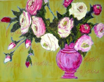 Shabby Chic Roses ~ Roses Art Painting ~ Mothers Day Roses ~ Floral Art ~ Bohemian Roses ~ Floral Decor ~  Roses ~ Romantic Decor