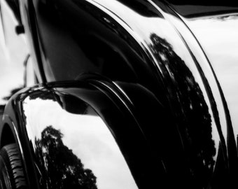 Curves of an Old Car created with tradition and mastery reflection of light black ford - Forever - A Fine Art Photograph by Sarah McTernen