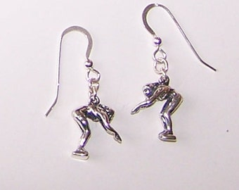 Sterling Silver 3D SWIMMER DIVING Earrings  - French Earwires - Watersports, Diving
