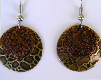 Mixed metal jewelry brass copper earrings.