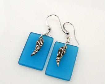 Sea glass jewelry angel wing earrings.