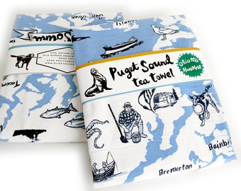 Tea Towel Blue Puget Sound Washington Flour Sack 100% Cotton