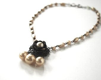 necklace faux pearl vintage victorian revival brass rose teardrop pearls 1940s costume jewelry short necklace wedding jewelry romantic