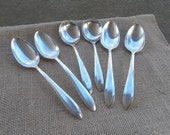 6 Antique Silver Spoons MONOGRAM D Vintage Flatware PATRICIAN Silver Plate Wedding Decor Table Settings French Country Prairie Set of 6