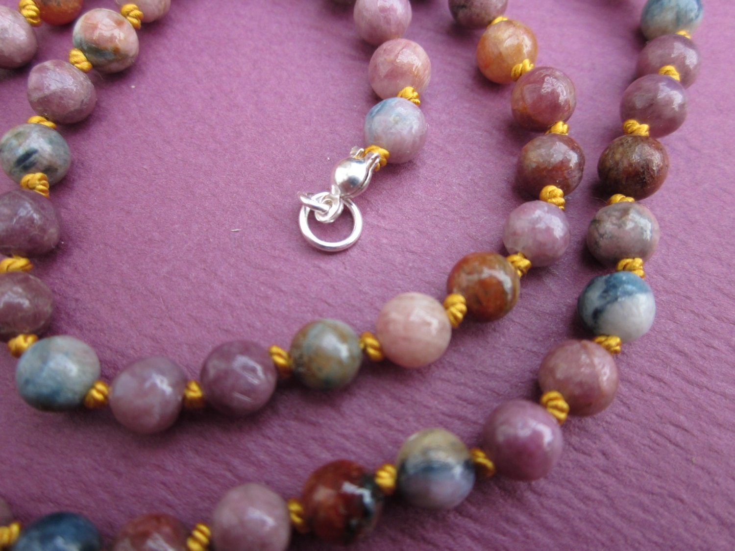 multi pink tourmaline silk knotted bead necklace