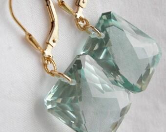 Green Amethyst Prasiolite Gold Fill Earrings