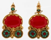 Red Agate and Turquoise Earrings - Antique Style - Gold Plated - Bohemian Earrings