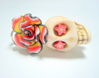 Large Red Yellow White Black Sugar Skull Rose Day of the Dead Pendant or Ornament