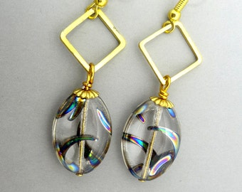 Glass Oval Earrings