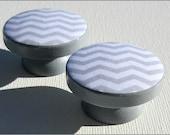 Chevron Dresser Knobs - Dresser Drawer Knobs - Light Grey - Chevron - Drawer Pulls - Chevron Knobs