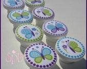 Butterfly Knobs • Purple • Blue • Polka Dot Butterfly • Dresser Handles • Drawer Pulls • Dresser Knobs