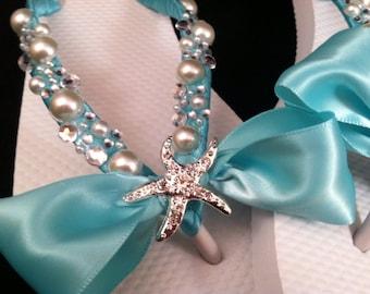 Bridal Flip Flops, Custom Flip Flops, Starfish Bow Dancing Shoes, Starfish Bow Bridal Sandals, Bling Wedding Flip Flops Beach Wedding Shoes
