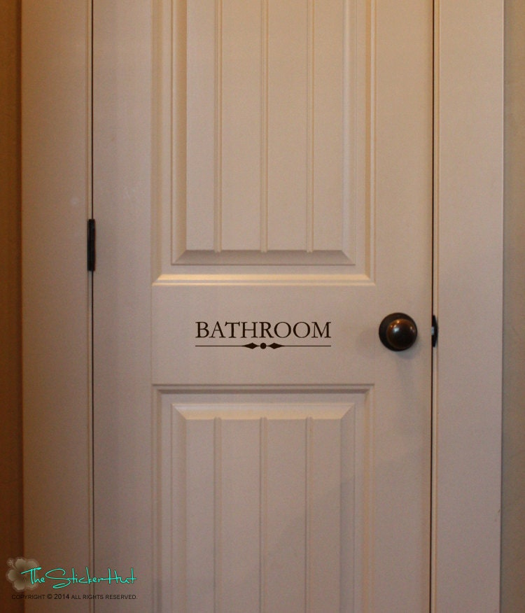 Bathroom bathroom room home decor vinyl lettering wall for Door vinyl design