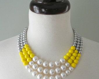 Color Block Triple Decker Necklace - in Sunbeam - 3 Strand Colored Pearl Necklace