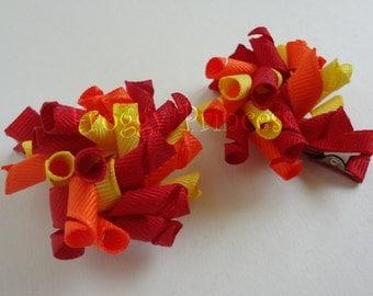 Red Orange Yellow Sunset Korkers - Corker Curlies - No Slip Hair Clippies