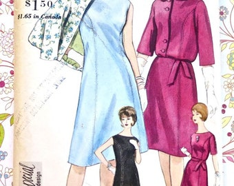 Vintage 1960s Womens Dress Pattern with Blouson Jacket and Petticoat - Vogue 4243