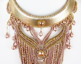 Bead Embroidery Necklace, Beaded Collar, Pearl Bib Necklace, BOTB 2014