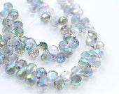Shimmer Blue Green 9x6mm Faceted Crystal Briolette Beads  10