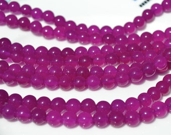 Luscious Purple Magenta 8mm Jade Beads  FULL STRAND