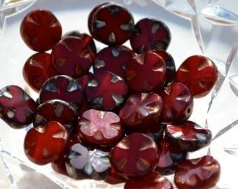 Dark Red 14mm Cross Coin Czech Glass Beads  8