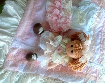 Luxurious Baby girl Vintage Lace embellished l Layette; blanket, onesie, Lolly Bonbons Doll Baby shower gift, Newborn
