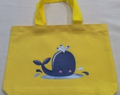 Kids Yellow Tote Bag With Whale