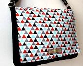 Black Geometric TRIANGLES MESSENGER Book Laptop iPAD Diaper BAG