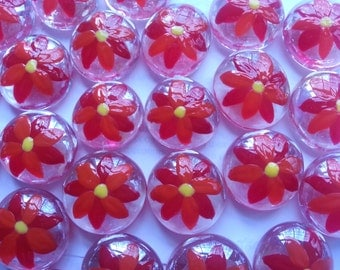Hand painted glass gems party favors Christmas decorations  poinsetta poinsettas flower