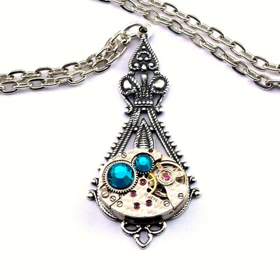 Steampunk Necklace - Gorgeous Clockwork Design & Aqua Blue Zircon Swarovski Crystals -  PROMPTLY SHIPPED Steampunk Jewelry