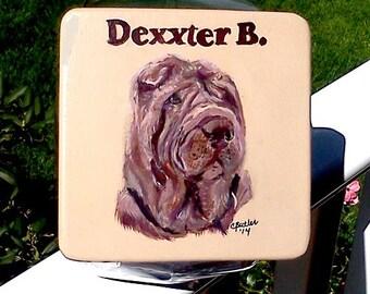 Custom Shar-pei dog treat jar, handpainted pet treat jar,  airtight lid for pet treat jar, glass jar, portrait of pet on pet treat jar