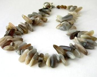 Botswana Agate Stone Necklace Beaded Necklace 18 Inch